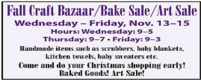 Fall Craft Bazaar & Bake Sale