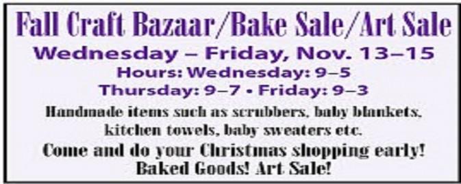 Fall Craft Bazaar & Bake Sale